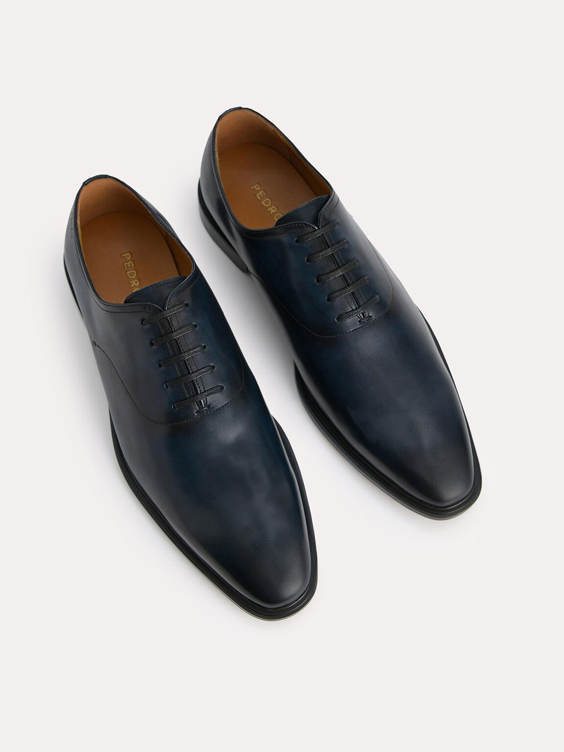 Burnished Leather Oxfords, Navy, hi-res