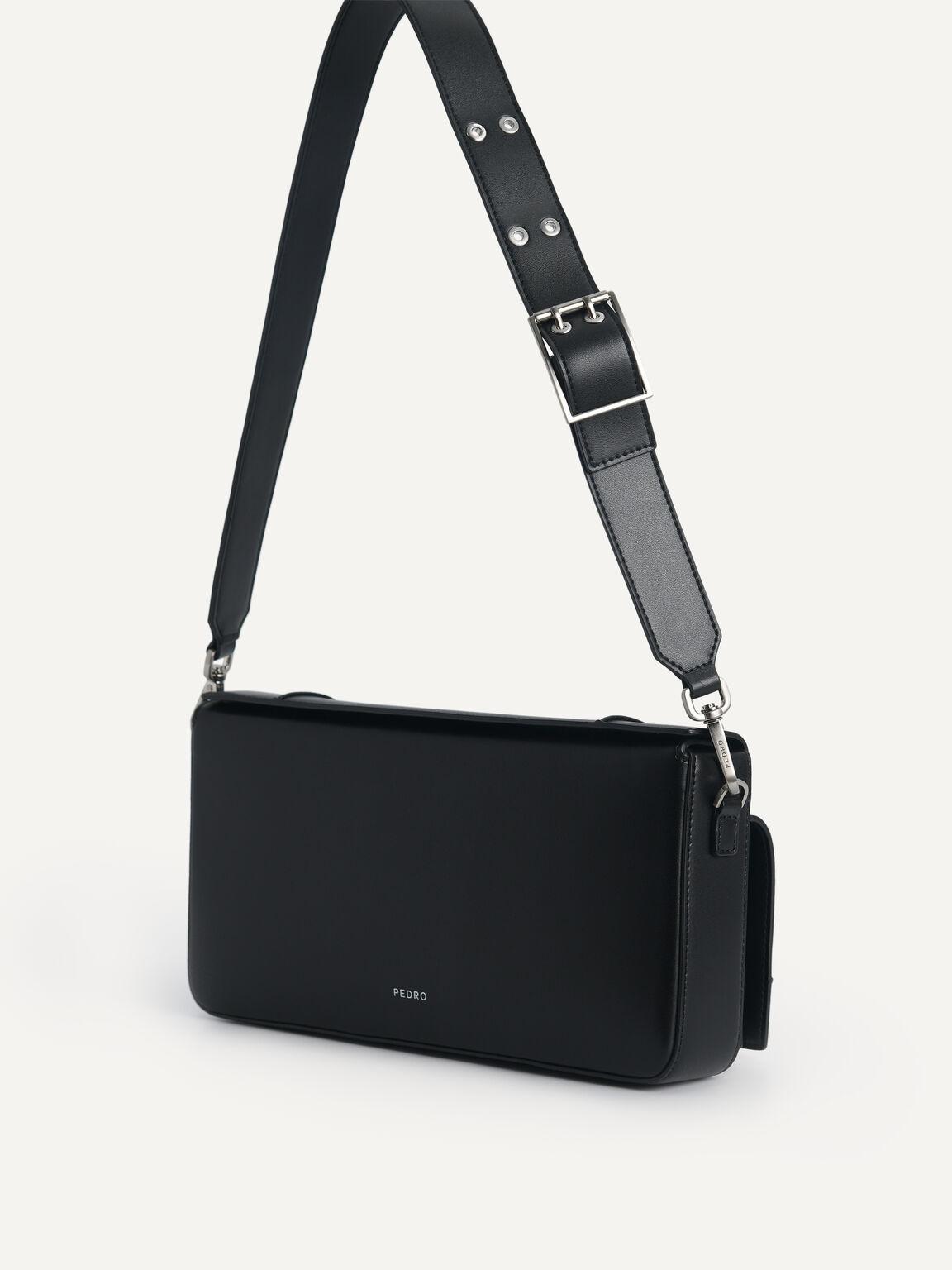 Utility Structured Shoulder Bag, Black, hi-res