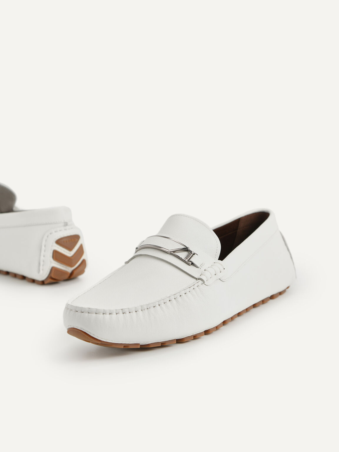 Leather Moccasins with Metal Bit, White, hi-res
