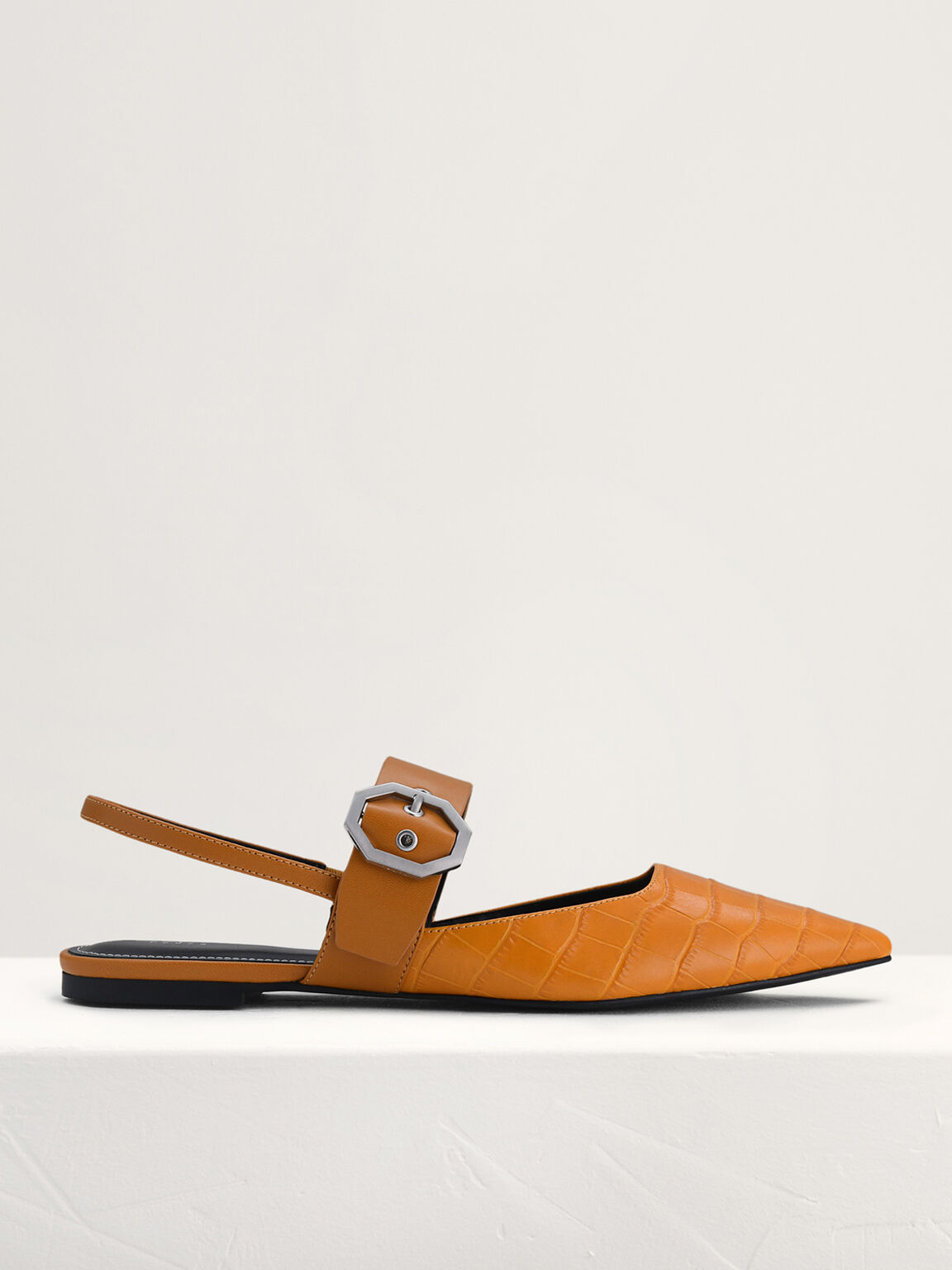Croc-Effect Buckled Leather Mules, Mustard, hi-res