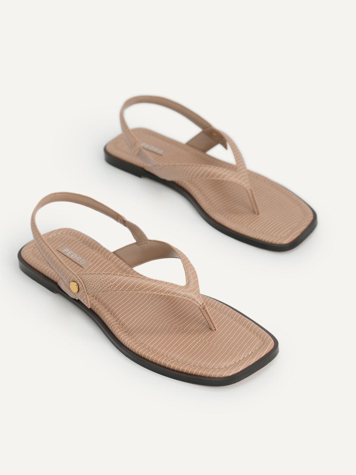 Lizard-Effect Slingback Thong Sandals, Taupe, hi-res