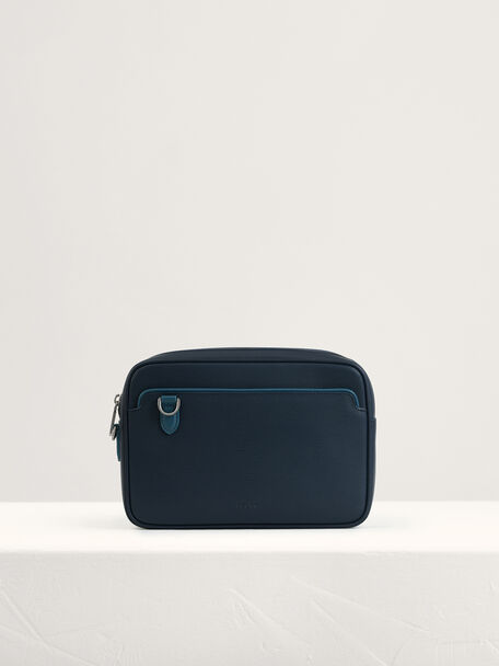 Embossed Leather Clutch, Navy, hi-res