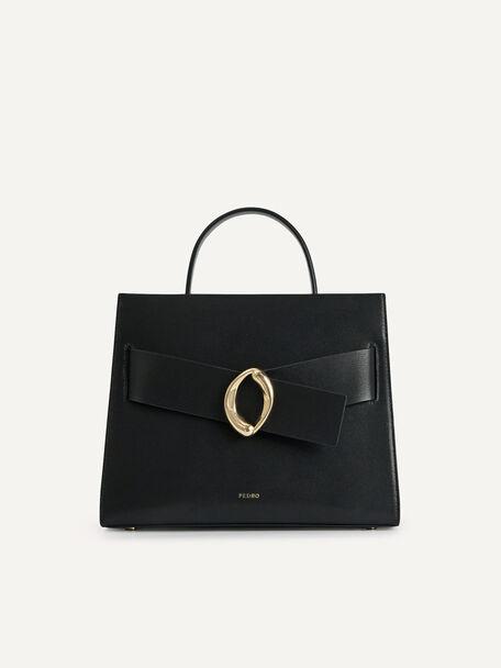 Structured Leather Top Handle Bag, Black, hi-res