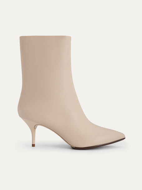 Leather Ankle Boots, Beige, hi-res