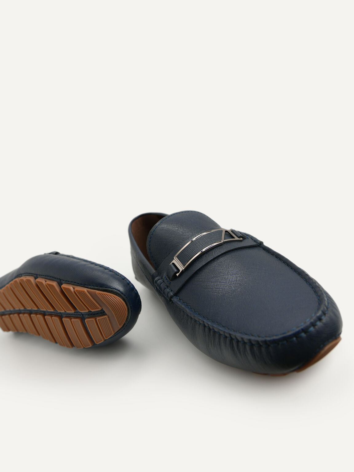 Leather Moccasins with Metal Bit, Navy, hi-res