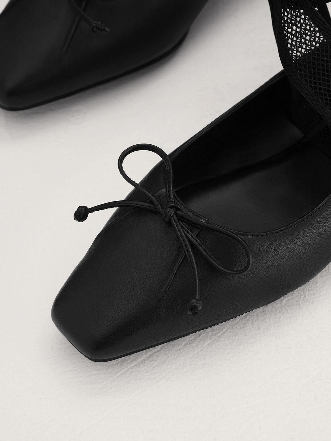 Leather Bow Flats, Black, hi-res