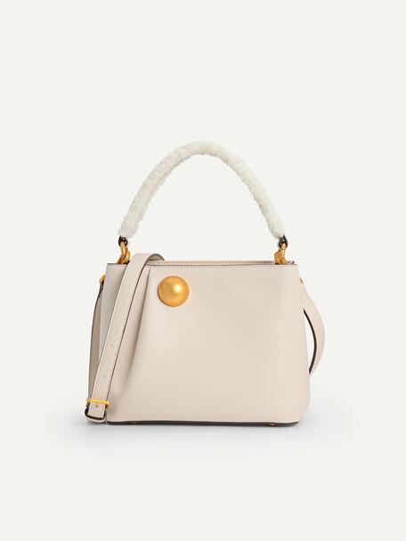 Orb Shearling Top Handle Bag, Beige, hi-res