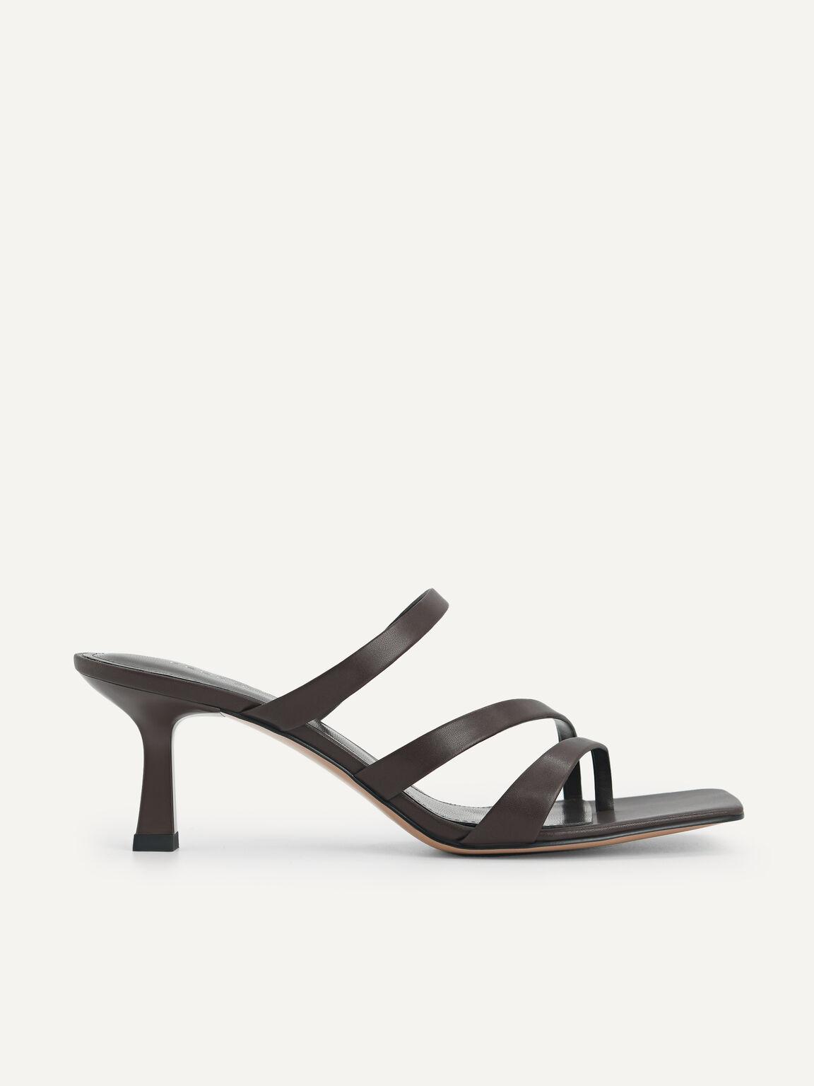 Strappy Heeled Sandals, Dark Brown, hi-res