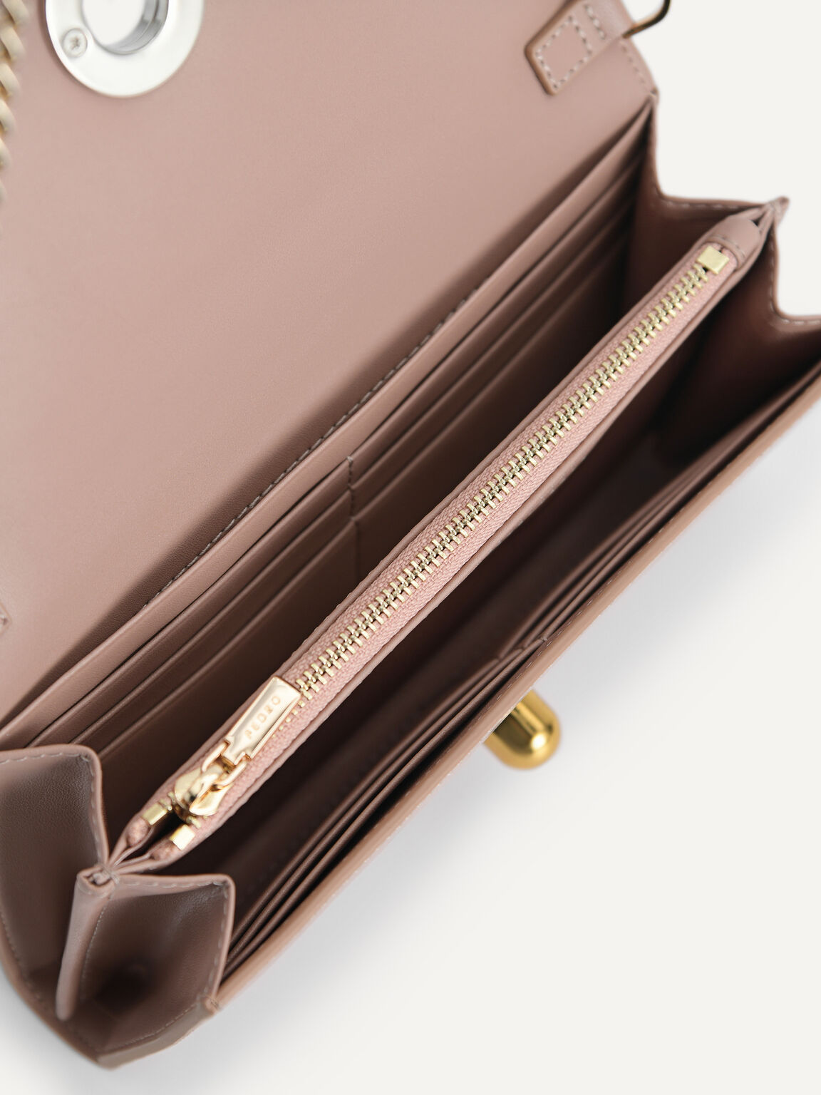 Leather Bi-Fold Wallet with Detachable Chain, Taupe, hi-res