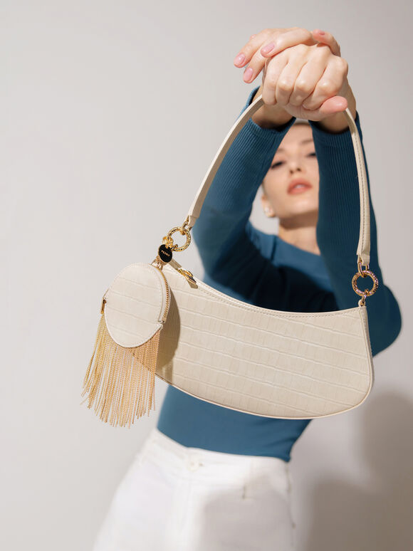 Croc-Effect Shoulder Bag, Nude, hi-res