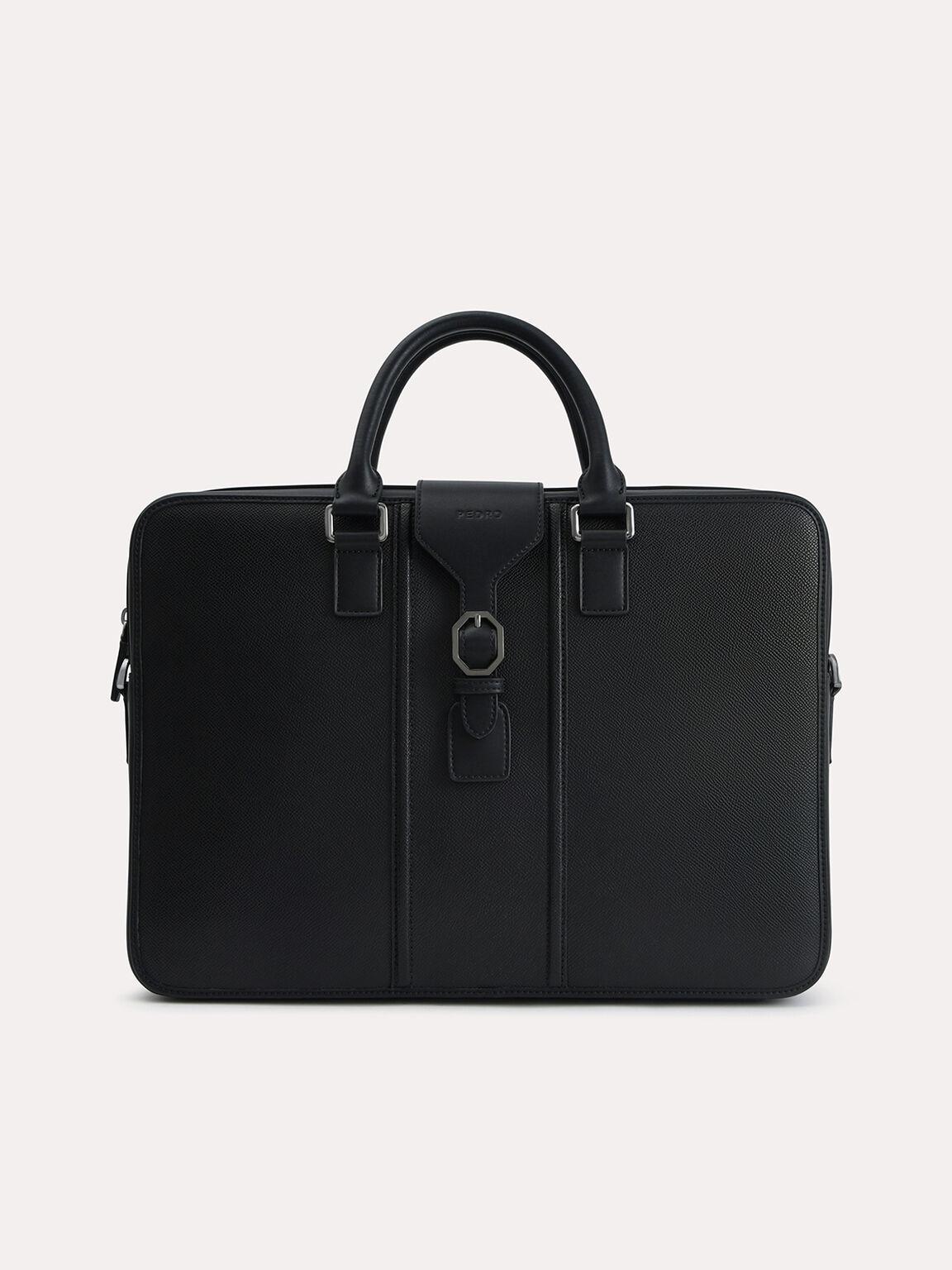 Textured Leather Briefcase, Black, hi-res
