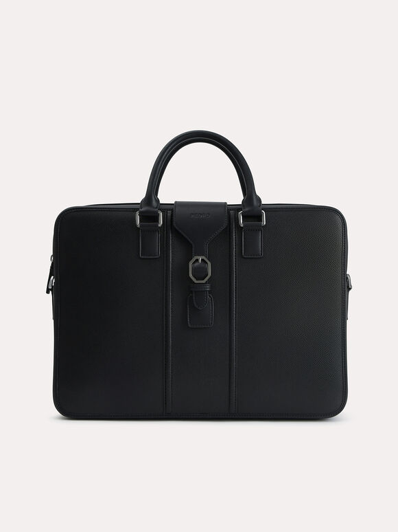 Textured Leather Briefcase, Black, hi-res
