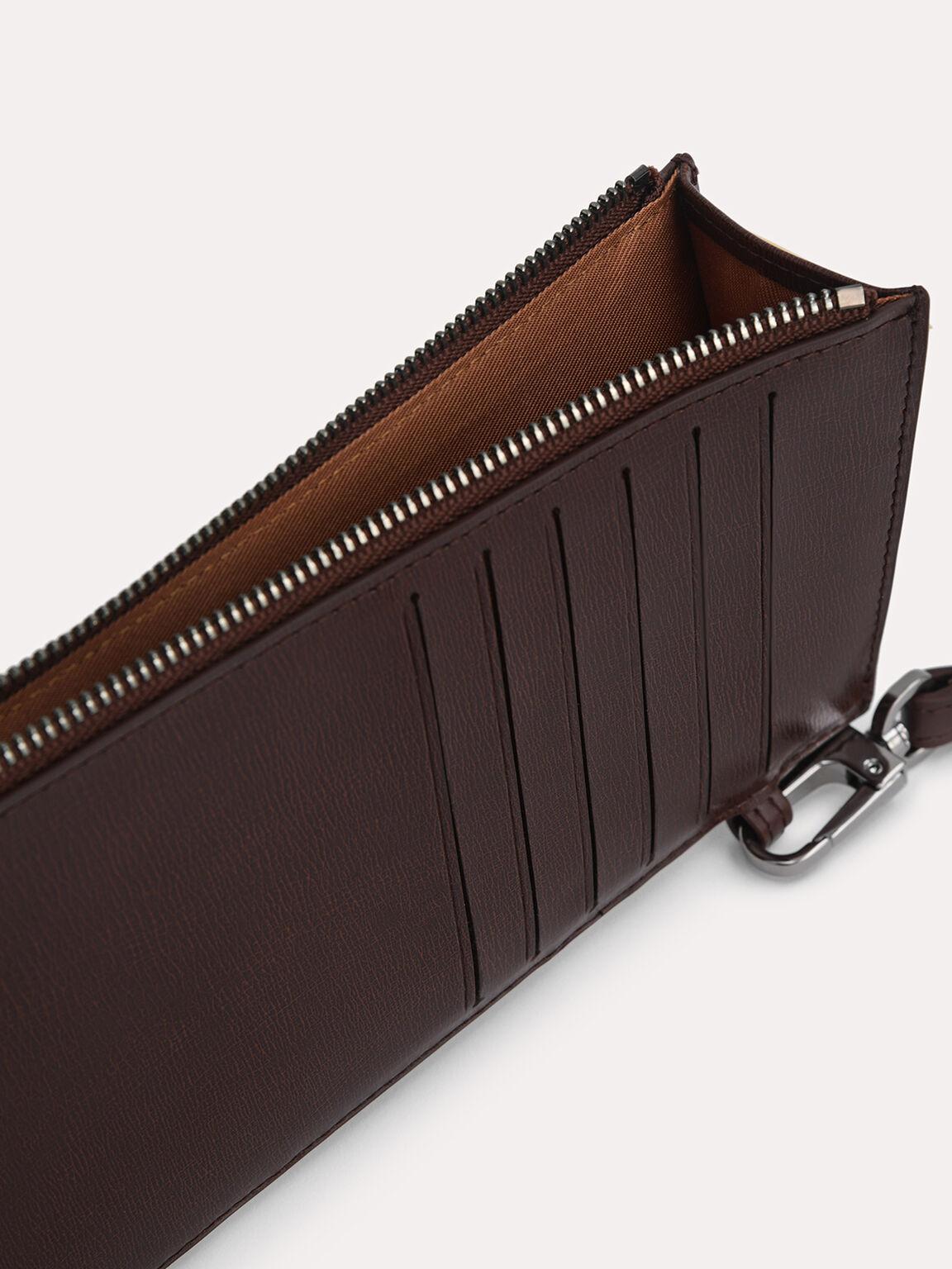 Textured Leather Cardholder, Brown, hi-res