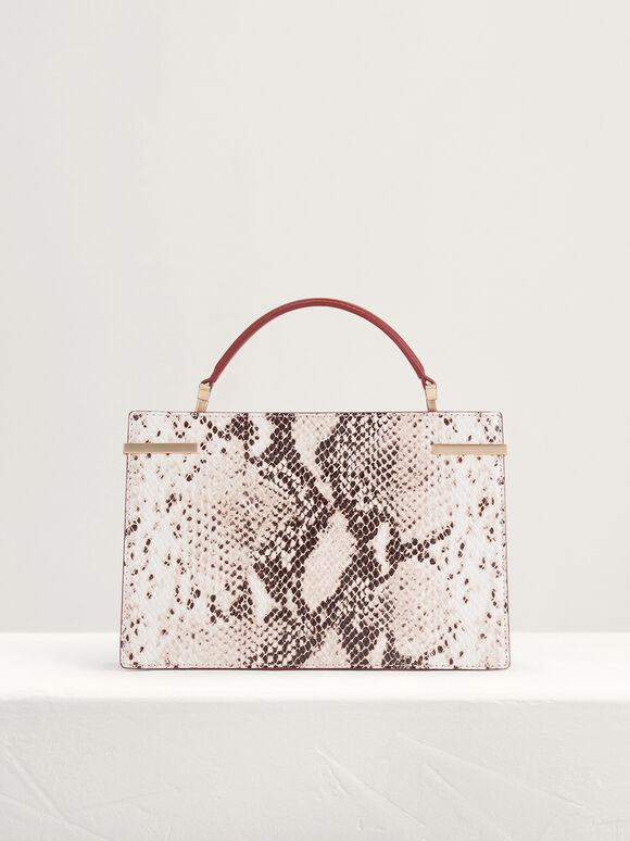 Snake-Effect Mini Top Handle Leather Bag, Multi, hi-res