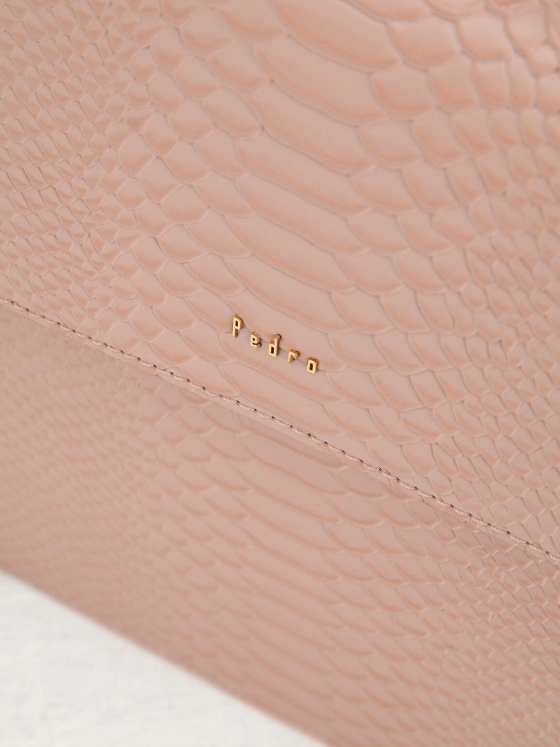 Snake-Effect Top Handle Leather Bag, Nude, hi-res