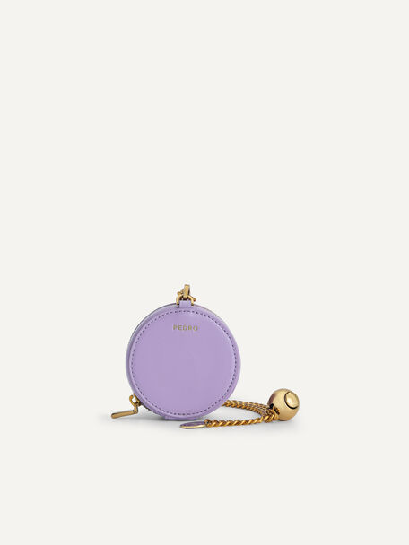 Mini Leather Pouch with Chain Handle, Mauve, hi-res