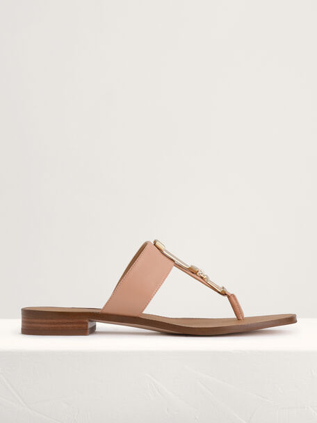 Buckled Thong Sandals, Camel, hi-res