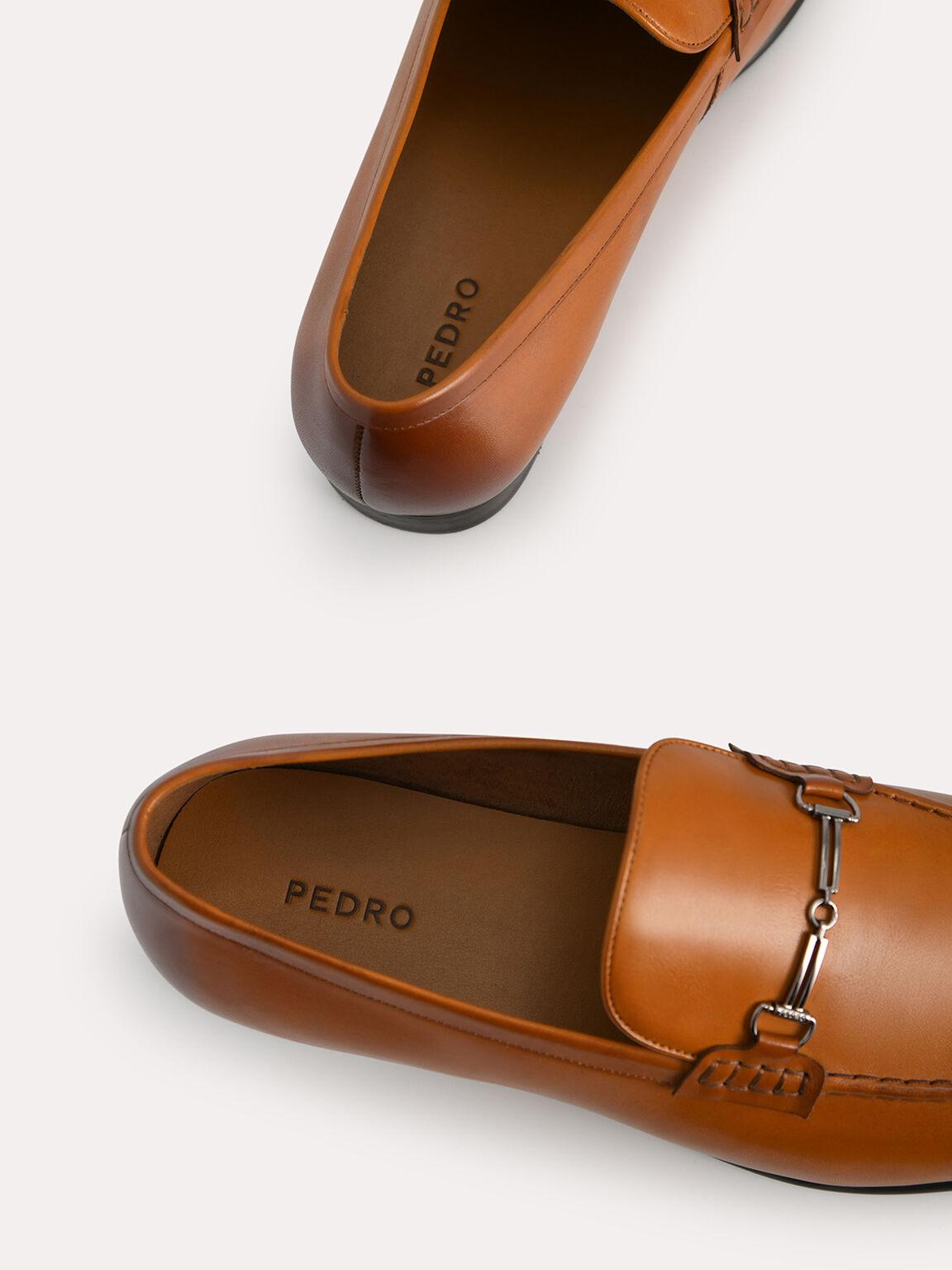 Burnished Leather Loafers with Bit Detailing, Camel, hi-res