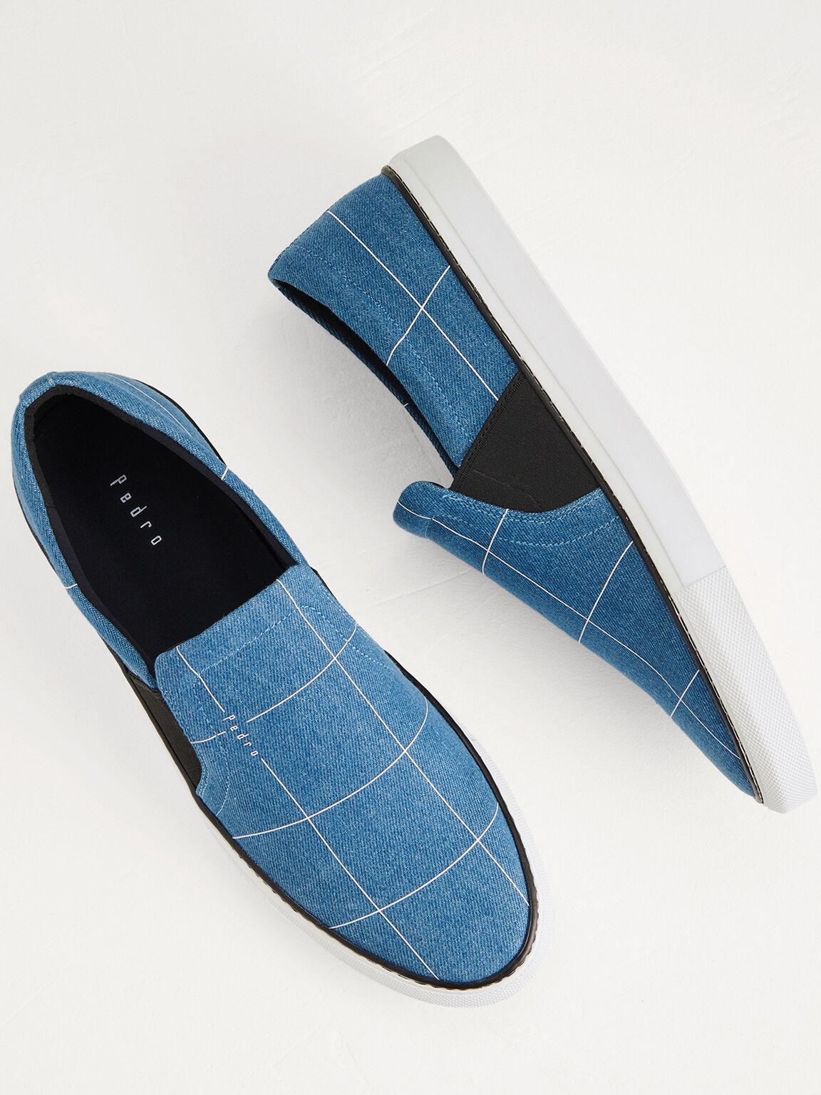 Denim Pane Checks Slip On Shoes, Blue, hi-res
