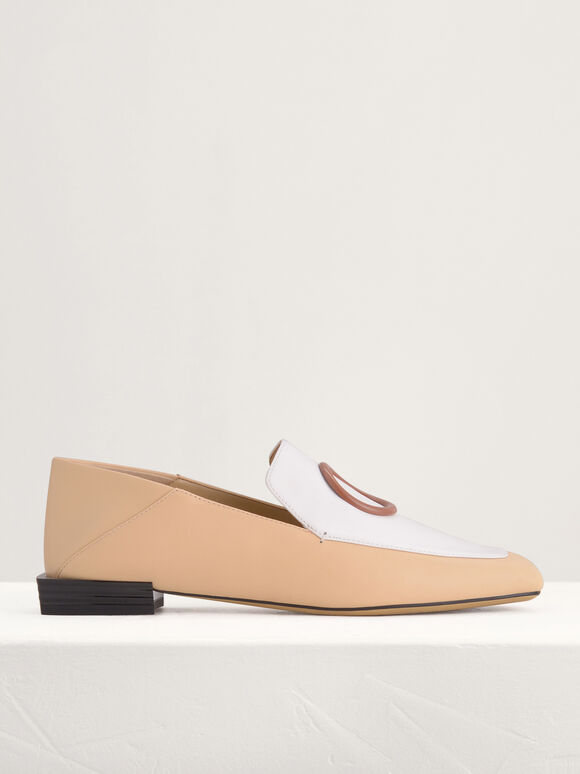 Ring Buckle Leather Loafers in Two-Tone, Multi, hi-res