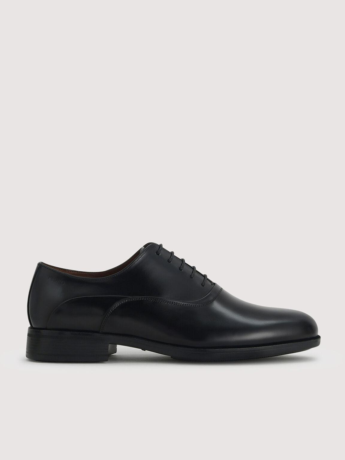 Lightweight Leather Oxford Shoes, Black, hi-res