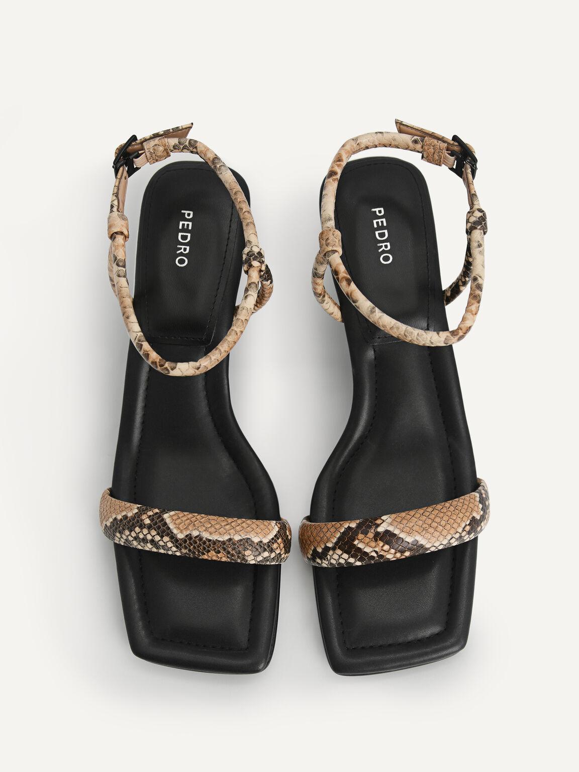 Snake-Effect Strappy Heeled Sandals, Multi, hi-res