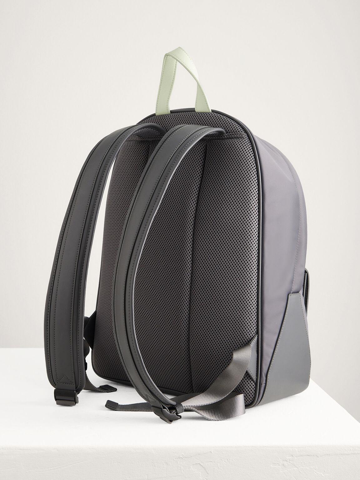 Nylon Backpack, Light Grey, hi-res