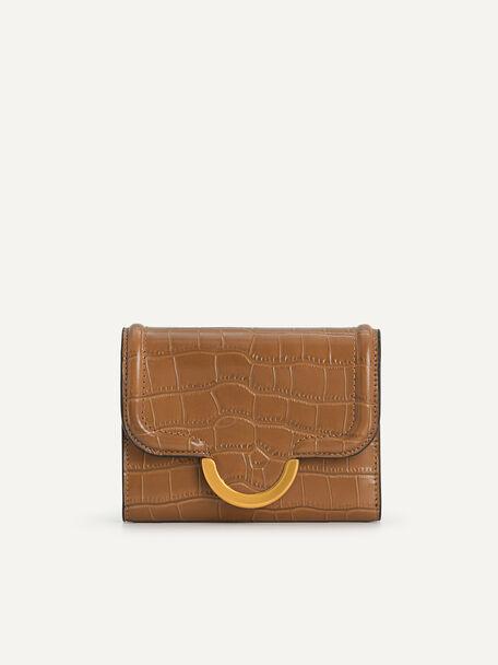 Croc-Effect Bi-Fold Wallet, Camel, hi-res