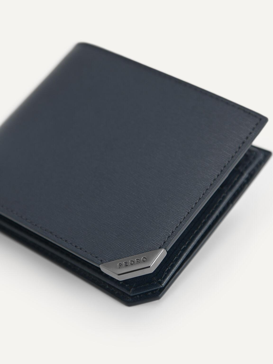 織紋皮革雙折疊錢包帶翻蓋, 海军蓝色, hi-res