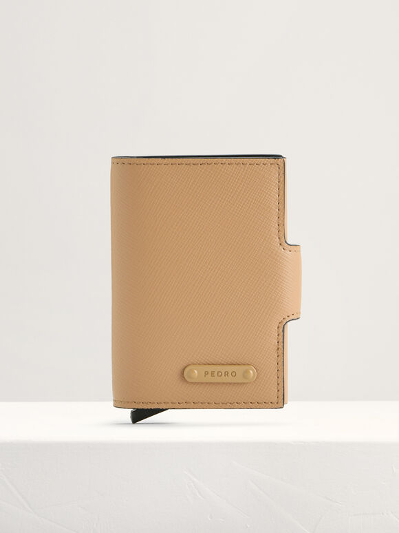 Leather Bi-Fold Card Holder, Taupe, hi-res