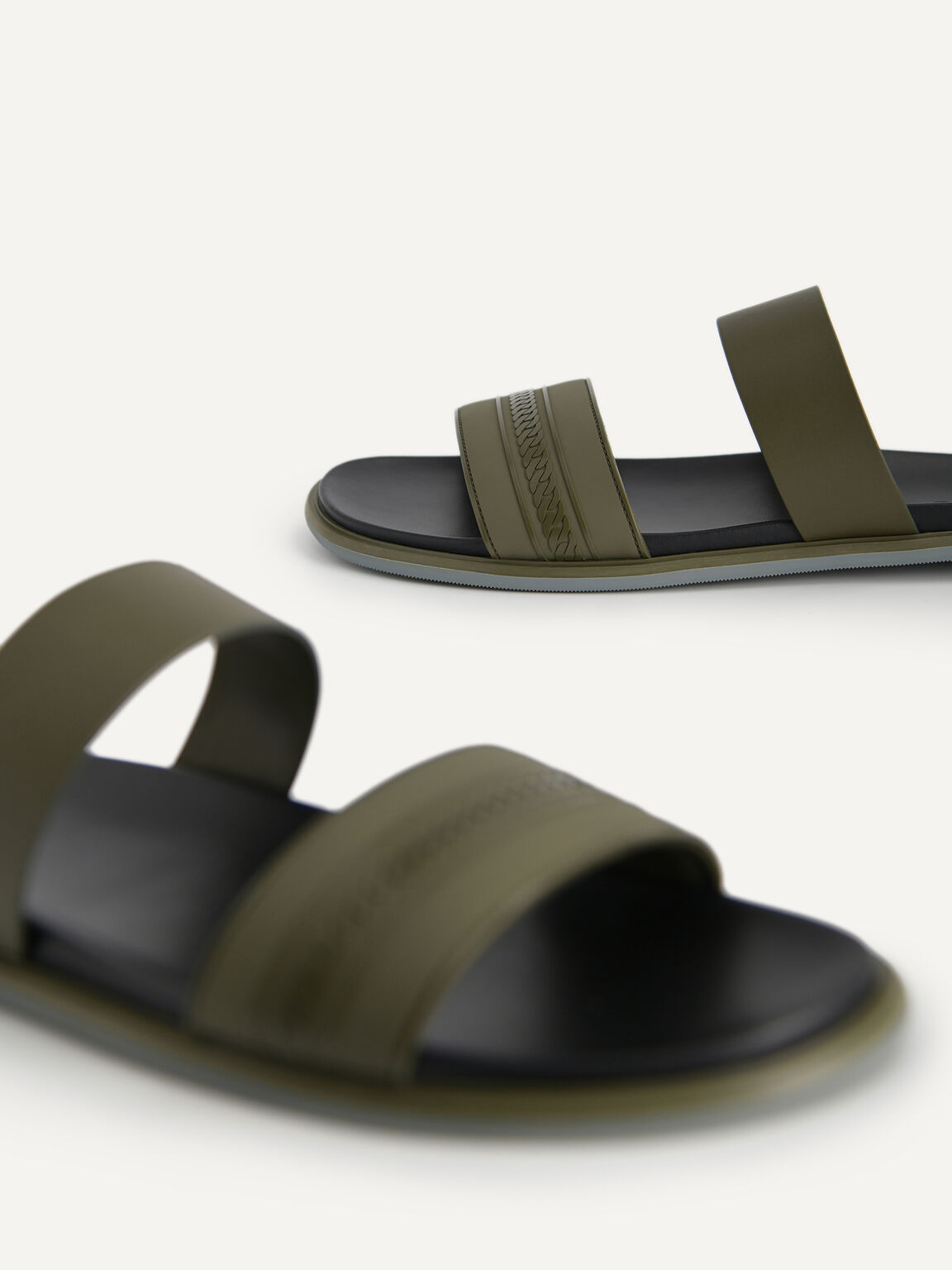 Double Strap Sandals, Military Green, hi-res
