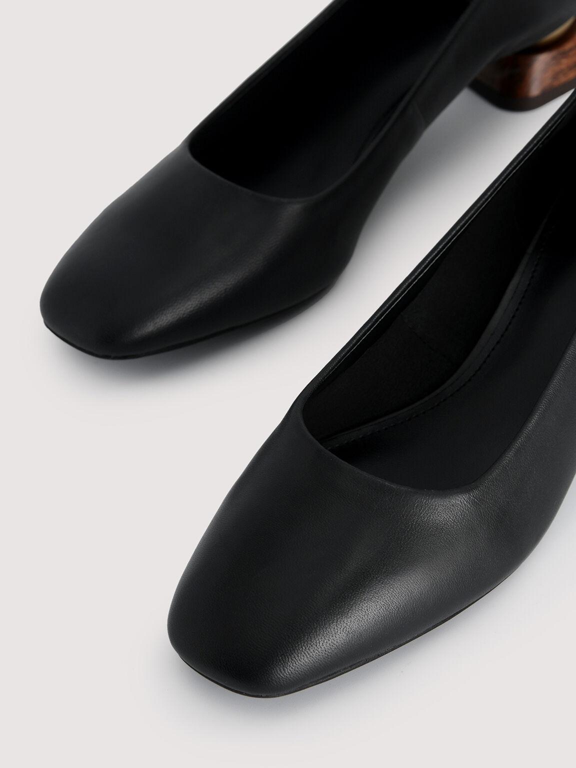 Leather Square Toe Heels, Black, hi-res