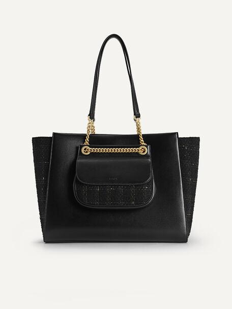 Tweed Tote Bag, Black, hi-res