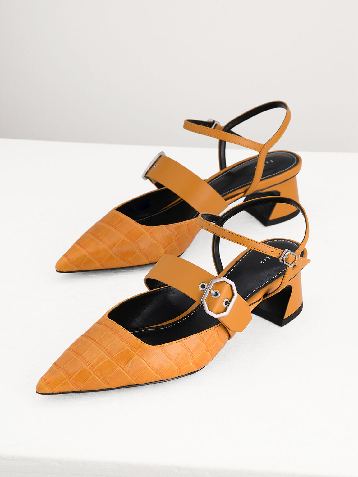 Croc-Effect Buckled Leather Heels, Mustard, hi-res