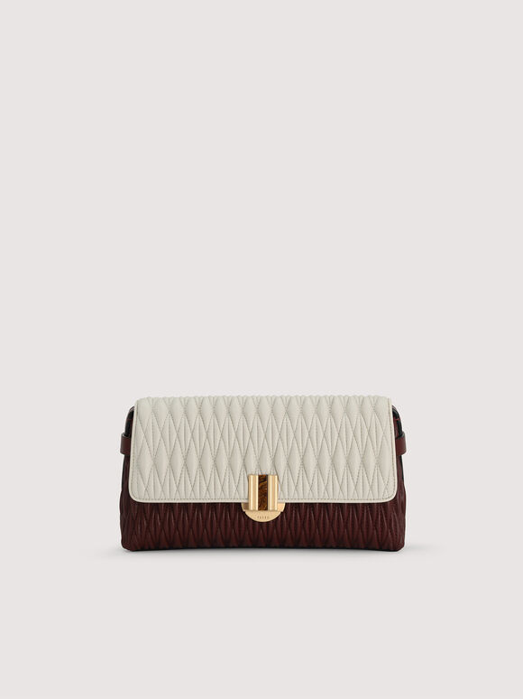 Quilted Shoulder Bag With Precious Stone Closure, Multi, hi-res
