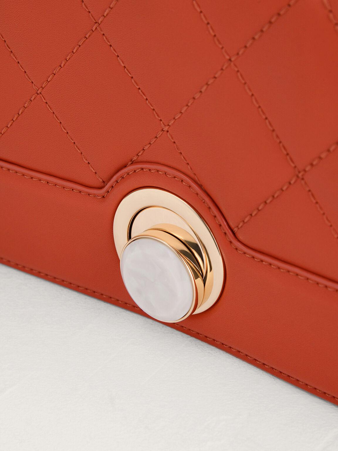 Quilted Shoulder Bag, Orange, hi-res