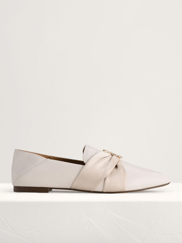 Leather Loafers with Twill Detailing, Chalk, hi-res