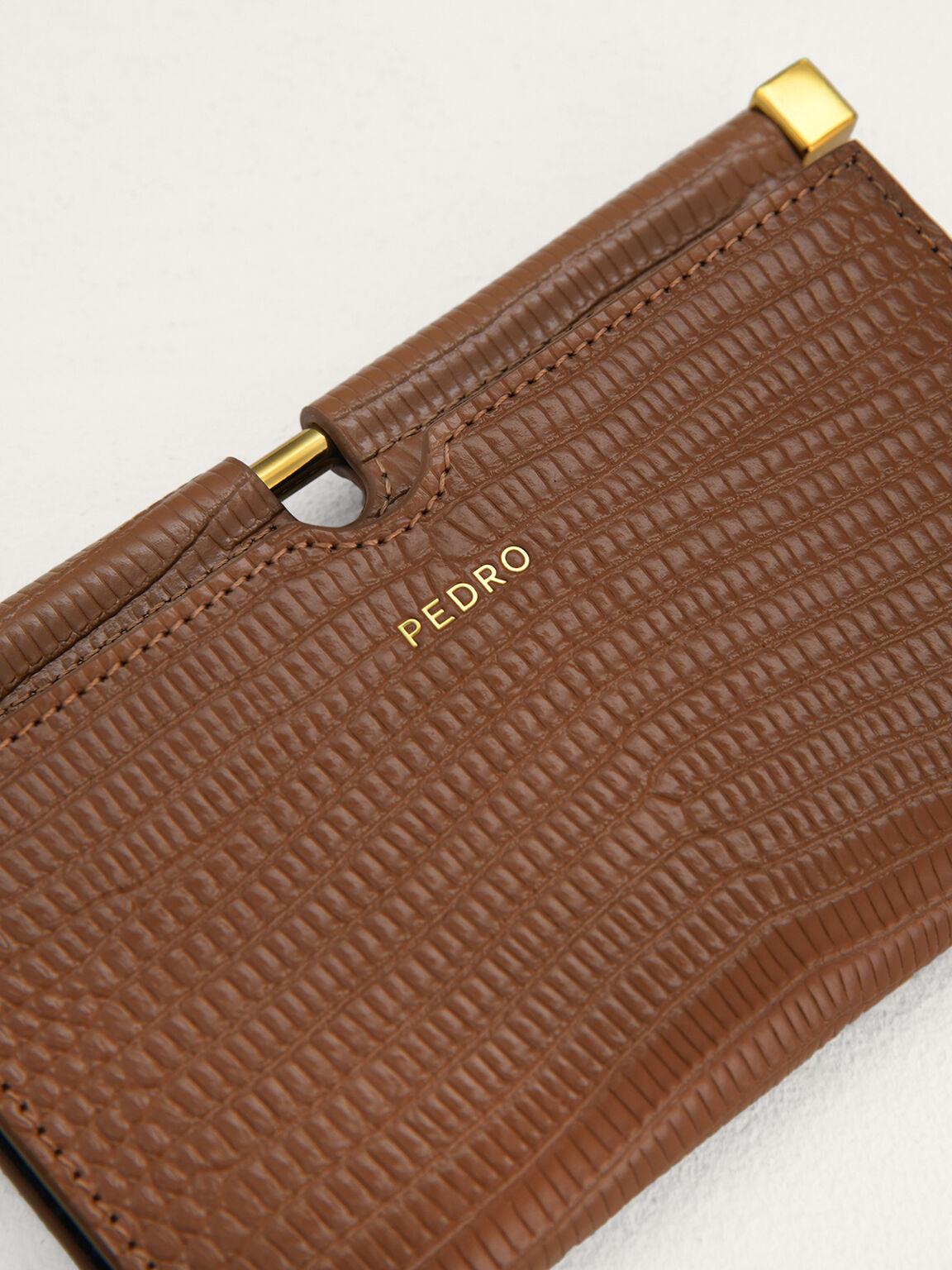 Lizard-Effect Leather Card Holder, Camel, hi-res