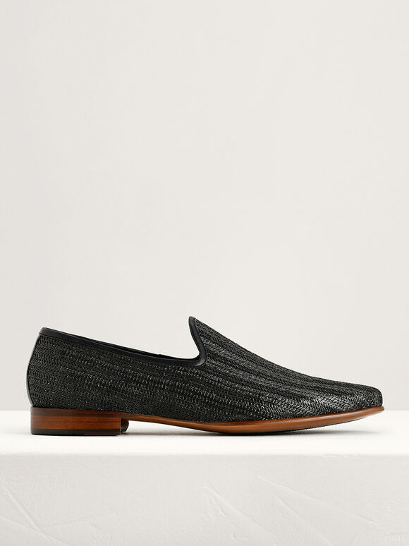 Woven Loafers, Black, hi-res