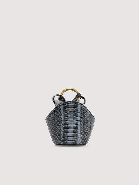 Snake-Effect Micro Shoulder Bag, Slate Blue, hi-res