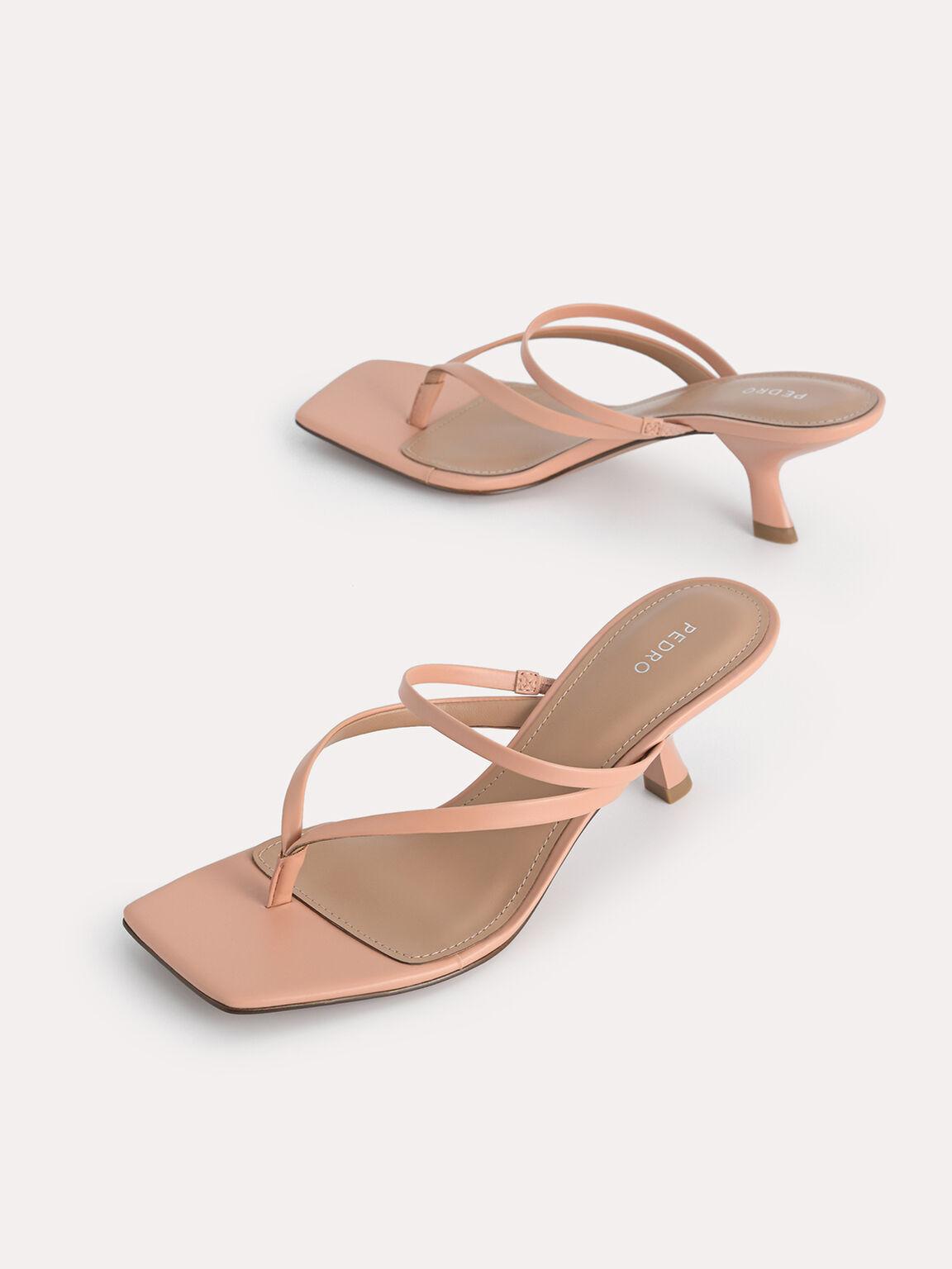 Thong Heeled Sandals, Nude, hi-res