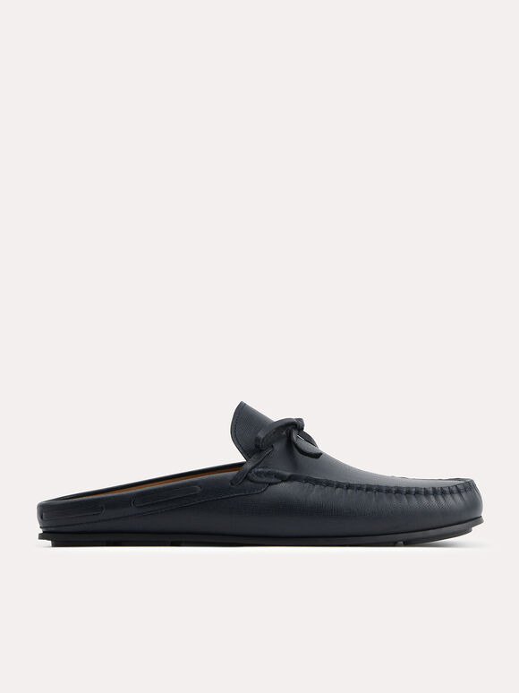 Textured Leather Slip-On Loafers, Navy, hi-res