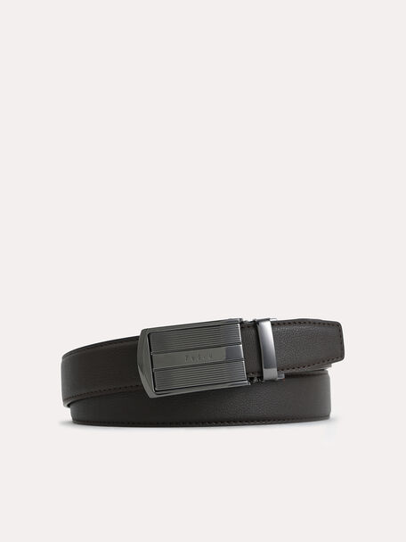 Automatic Textured Leather Belt, Dark Brown, hi-res