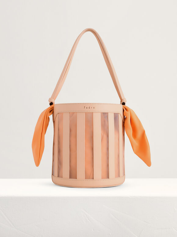 Striped Bucket Bag, Light Nude, hi-res