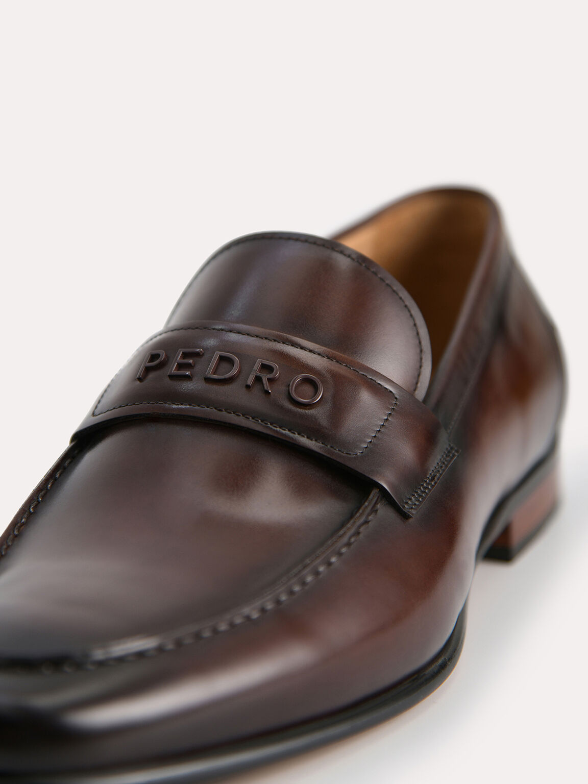 Burnished Leather Loafers, Brown, hi-res