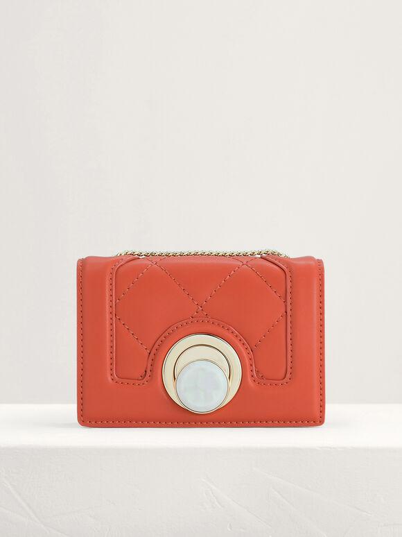 Micro Quilted Shoulder Bag, Orange, hi-res