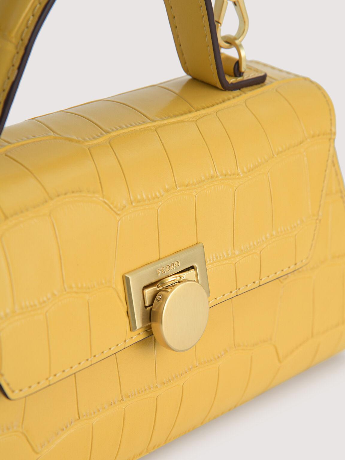 Croc-Effect Trapeze Top Handle Bag, Yellow, hi-res
