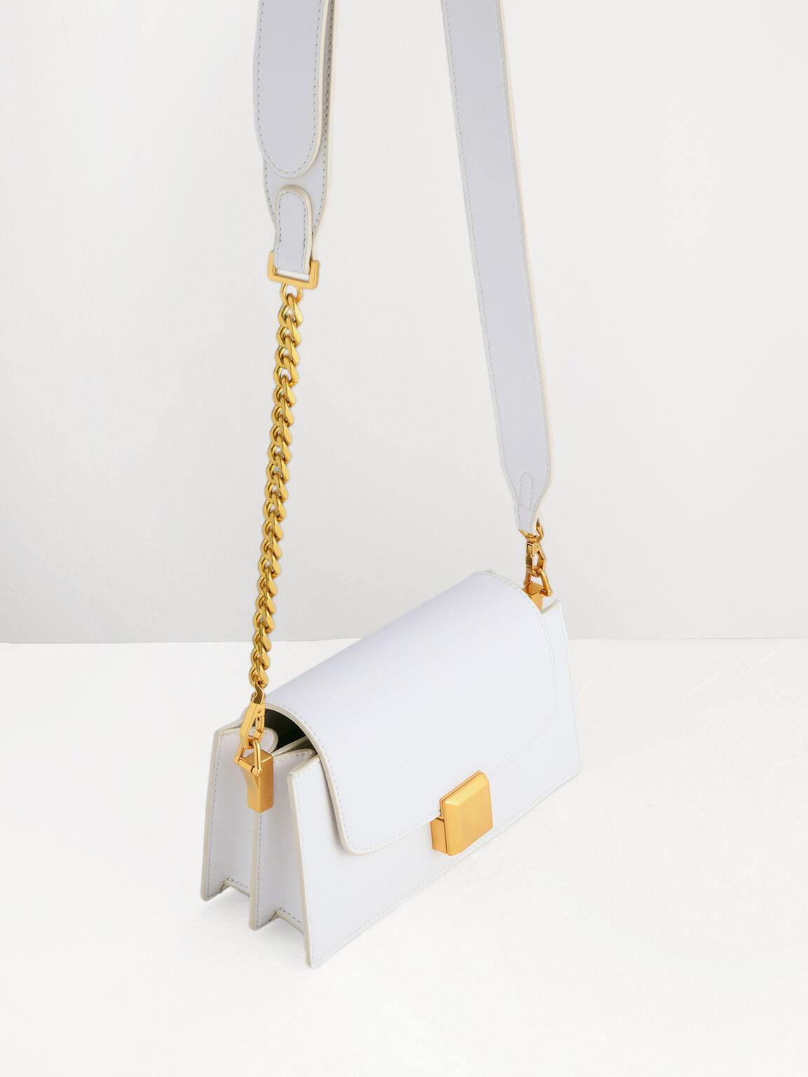 Gold Buckled Mini Shoulder Bag, Chalk, hi-res