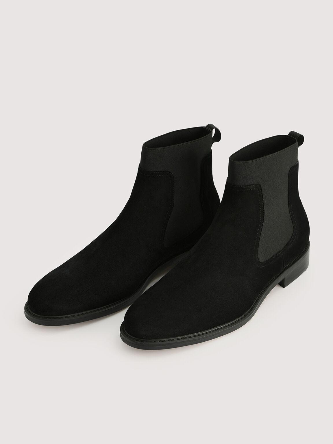 Suede Chelsea Boots, Black, hi-res