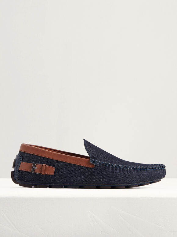 Moccasins with Buckled Detail, Blue Jean, hi-res